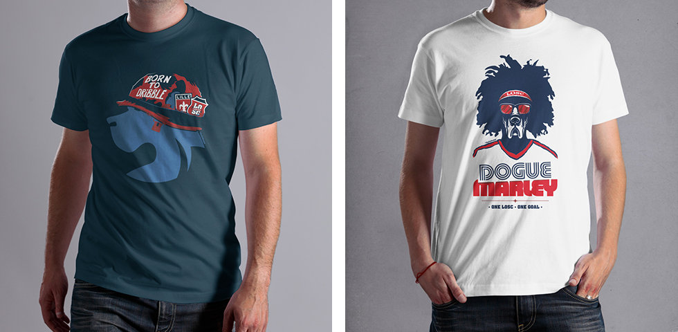 """Born to Dribble"" et ""Dogue Marley"", les 2 premiers tee-shirts de la collection exclusive LOSC by Le Gallodrome !"